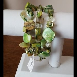 NEW 3 Row Bracelet Green Stones and Beads